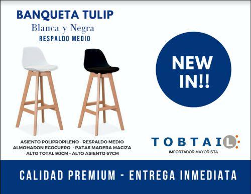 TOBTAIL - Banqueta Tulip Blanca / Negra