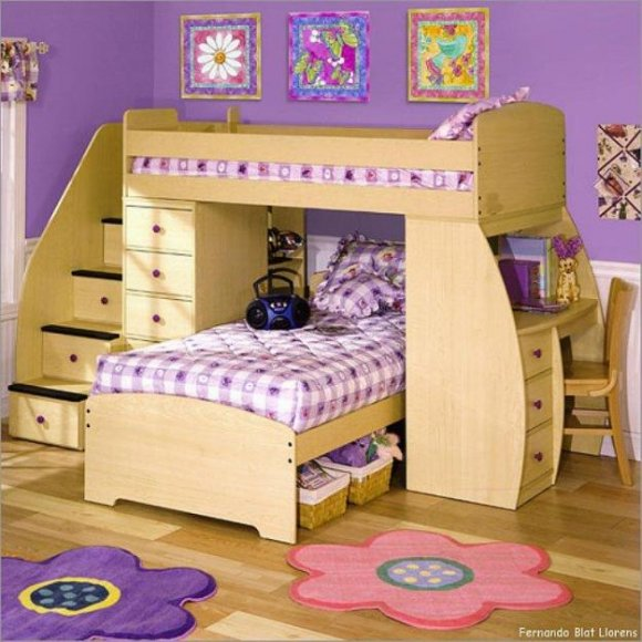 Bunk Beds with Stairs for Girls 580 x 580