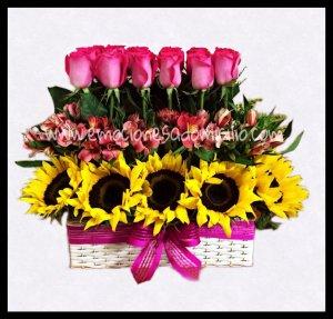 24 Rosas con Girasoles