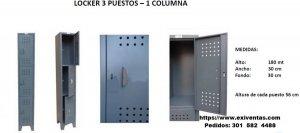 LOCKER DE 3 PUESTOS 1 COLUMNA