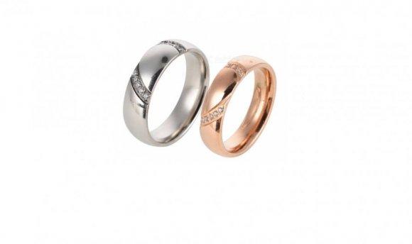 Anillos de  acero titanium plata+rosa dorada