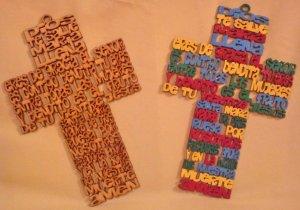 Cruz Mdf Con Oración De Dios te salve de 15 Cm color natural.
