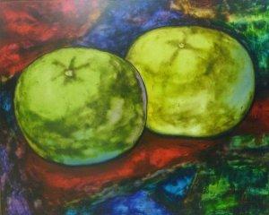 Luigi Jiménez-Composición naranja en mantel