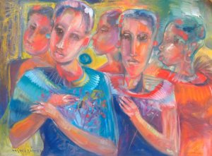 Miguel Gómez-Mujeres con flores