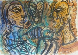 Jesus Desangles-Tres rostros con araña y mosquito