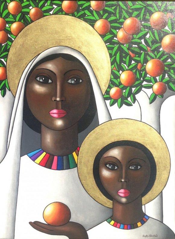 Antonio Prats Ventos-Virgen y niño en naranjo