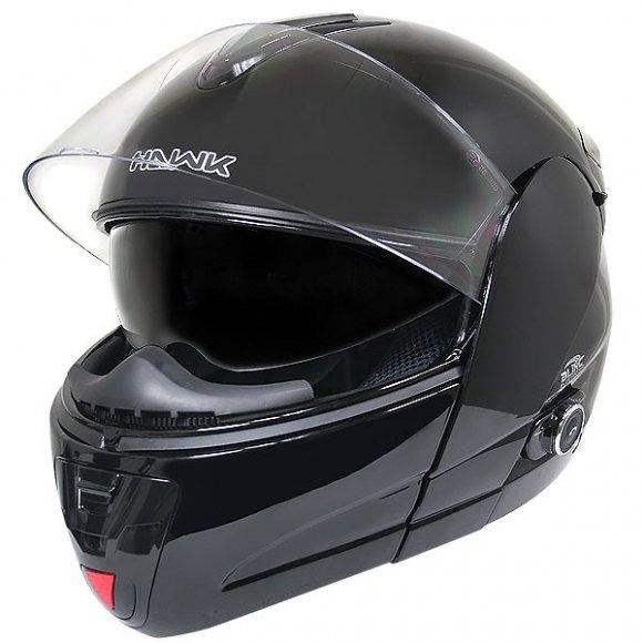 Hawk H-6607 brillante Negro Dual-Visor Modular casco de la motocicleta con Bluetooth