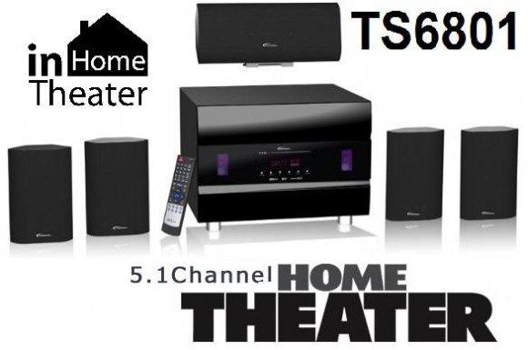 TS6801 Home Theater - Sistema de Sonido Embolvente 5.1, (5 Parlantes, Control Remoto)