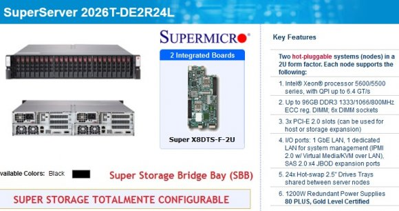 SuperMicro SuperServer SSG-2026T-DE2R24L (Black), Super Storage Bridge Bay (SBB), 2U; Intel® Xeon® processor 5600/5500 series, with QPI up to 6.4 GT/s; Up to 96GB DDR3; 3x PCI-E ; 1 GbE LAN, 1 dedicated LAN; 24x Hot-swap; 1200W Redundant Power