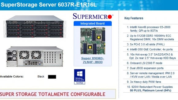 "SuperMicro SuperStorage SSG-6037R-E1R16L (Black), Intel® Xeon® processor E5-2600 family; QPI up to 8GT/s; Up to 512GB DDR3; 5x PCI-E; Intel® i350 GbE Controller; 4x ports; 16x Hot-swap 3.5"" SAS2/SATA3; LSI 2308; Dual JBOD; remote manag; 920W Red.Pwr"