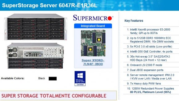 "SuperMicro SuperStorage SSG-6047R-E1R36L (Black), Intel® Xeon® processor E5-2600 family; QPI up to 8GT/s; Up to 512GB DDR3; 5x PCI-E; Intel® i350 GbE Controller; 4x ports; 36x Hot-swap 3.5"" SAS2/SATA3; LSI 2308; Dual JBOD; remote manag; 1280W Red.Pwr"