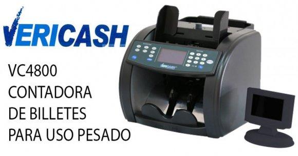 Vericash VC4800 PRO, CONTADORA DE BILLETES PARA USO PESADO. 600, 1000,1600 billetes por minuto. Capacidad de tolva de 400 billetes. Detección magnética (MG), ultravioleta (UV) e hilo de seguridad (MT). Control automático de conteo