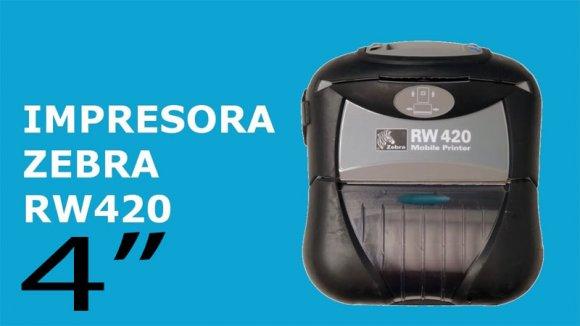 ZEBRA RW420 - BlueTooh, Impresora Portatil Térmica de Recibos, Facturas y Etiquetas, Diseño Resistente, IP54 de resistencia al agua y el polvo, Bluetooth, Ideal para Puntos de Venta móviles, Servicio en Sitio, Puntos de Distribución y Control