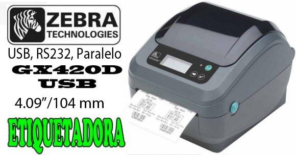 "Zebra GX420D, Impresora de Etiquetas térmica directa, 4.09""/104 mm, Velocidad de Impresión 152 mm/seg, USB, RS232, Paralelo, Resolución de impres. 203 dpi, Habilitada para impresión de etiquetas de equipajes, Aerolíneas"