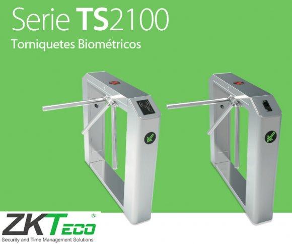 ZKTEKO TS2122, Torniquete bidireccional con Panel de Acceso, Lectores de Huella y Lectores RFID, 3.000 Huellas Dactilares, 30.000 Usuarios, 100.000 Registros, RS485 y TCP/IP, 220 VAC