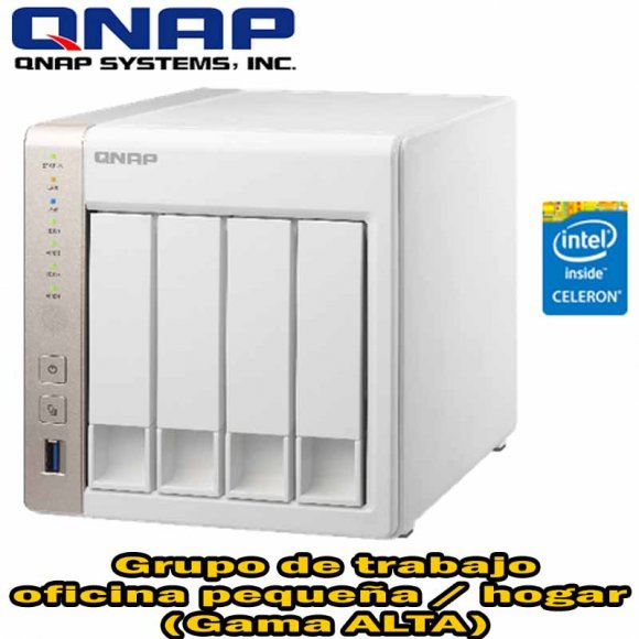 QNAP TS-451, 4-Bay Personal Cloud NAS HDMI output, DLNA, AirPlay, PLEX Support, Intel Celeron Dual Core 2.41GHz, 1GB (Max 8GB) DDR3L RAM, SATA 6Gbps, USB 3.0, 2 LAN. Powerful on-the-fly and offline transcoding, HDMI, Surveillance Stat. Max 24 Ch, NO HD