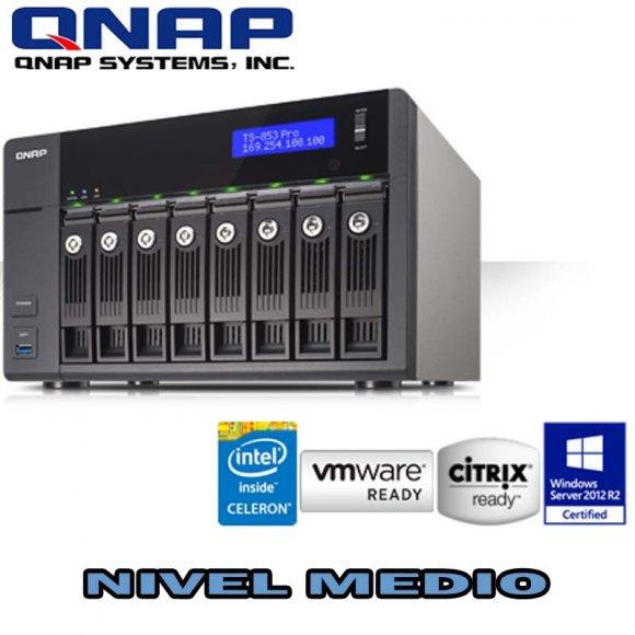 QNAP TS-853-PRO, 8-Bay NAS, Intel 2.0GHz Quad Core CPU with Media Transcoding Intel Celeron Quad Core 2.0GHz, 2GB DDR3L RAM (max 8GB), SATA 6Gb/s, 4 Giga LAN, Read 430MB/s, Write 425MB/s, HDMI XBMC, max 1 UX expansion unit, NO HD
