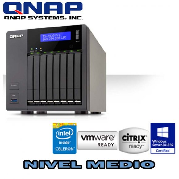 "QNAP TS-853S-PRO, 8-Bay Slim NAS, Intel 2.0GHz Quad Core CPU with Media Transcod, 2.5"" SATA 6Gb/s, Intel Celeron Quad Core 2.0GHz, 4GB DDR3L RAM (max 8GB), 2.5"" SATA 6Gb/s, 4 Giga LAN, Read 430MB/s, Write 425MB/s, HDMI XBMC, max 1 UX exp.unit, NO HD"