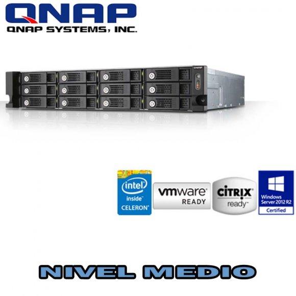 QNAP TS-1253U, 12-bay 2U iSCSI NAS, Intel Celeron Quad Core 2.0GHz, 4GB DDR3L RAM max 8GB, SATA 6Gb/s, hot-swappable, Single PSU, 4 x GbE LAN, Virt.St, hard.transcod, Surveillance St, VMware, Citrix, Microsoft Hyper-V ready, max 1 UX exp.unit, NO HD