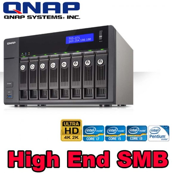 QNAP TVS-871-PT-4G, 8-bay NAS, Intel G3250 3.2 GHz Dual Core,  4GB DDR3 (Max. 10GB), 4 x GbE LAN, 10GbE Ready via optional PCI-E NIC, Virtualization Station, QvPC with 4K display, HDMI out with XBMC, Surveillance Station, NO HD
