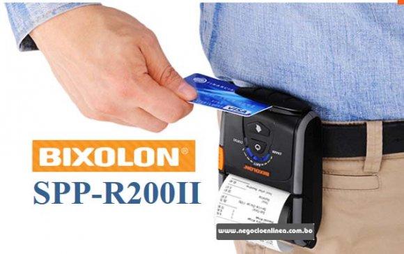Bixolon SPP-R200IIIK, Impresora Térmica Portatil 2 Pulgadas Bluetooth y Serial, iPhone y iPad, WebPRNT Browser/Android, Resolución de 203dpi con un ancho máximo de 48mm de papel 2 plg, Recibos, Facturas, 2.5 horas, IP43 de resistencia al agua, polvo