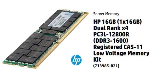 HP 713985-B21, MEMORIA HP 16GB 2Rx4 PC3L-12800R-11 Kit