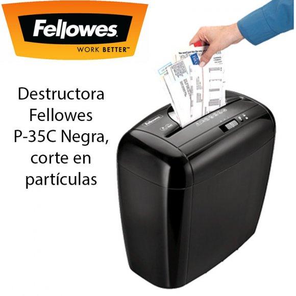 Fellowes P-35C, Destructoras de Documentos de uso personal, Ideal para 1 usuario que necesite destruir de forma fiable y eficiente su información sensible y personal, Negra, corte en partículas