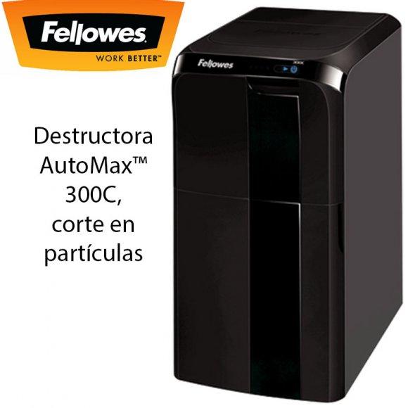 Fellowes 300C, Destructora AutoMax™ 300C, corte en partículas, Destruye hasta 300 hojas en partículas de 4x38 mm. Nivel de seguridad P-4, Destruye la carga de papel en 12 minutos, La mejor forma de olvidarte de la destruc.sin dejar de proteger tu inf.conf