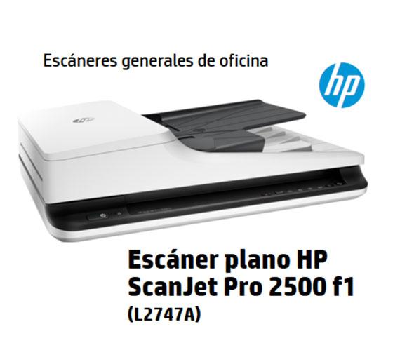 HP ScanJet 2500 F1 L2747A#BGJ, FLATBED SCANNER Hasta 20 ppm/40 ipm a 300dpi B/N, ADF DUPLEX HASTA 50 PAG, USB 2.0, 64MB, CD 1500PAG EN ADF