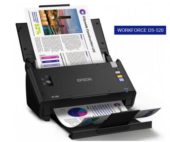 EPSON Workforce DS-520 (B11B234201IM),, Aumenta tu productividad con este nuevo escáner A4 con alimentación automática y Document Capture Pro1 para la gestión sencilla de documentos