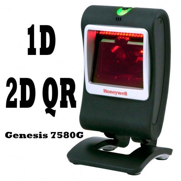 Honeywell Genesis 7580G, Lector Omnidireccional 1D/2D, Lectura de códigos Impresos y Electrónicos, aún cuando están dañados o sucios, hasta 15 códigos 1D/2D/QR en una sola lectura, Ideal para supermercados y puntos de venta con alto tráfico de productos