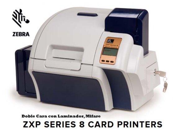 ZEBRA ZXP8-4, Impresora de Credenciales por Retransferencia, Doble Cara con Laminador, Mifare, con Calidad Fotográfica a Alta Velocidad con conexión USB/Red, 190 tarjetas por hora, ambos lados 170 tarjetas por hora, doble cara simultánea, Soft.Z-Motif