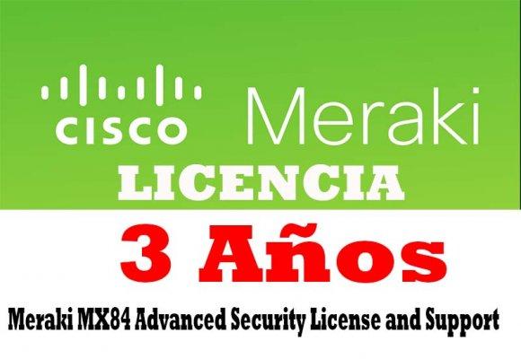 Cisco Meraki LIC-MX84-SEC-3YR, Meraki MX84 Advanced Security License and Support, 3 Years, LICENCIA PARA EQUIPO MX84 CISCO MERAKI