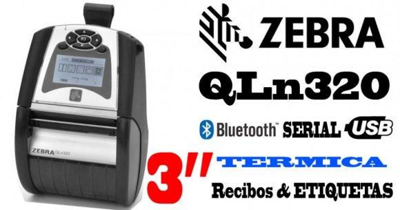 Zebra QLn320, Impresoras Portátil de Recibos, Etiquetas, Bluetooth, térmica directa, 203 dpi (8 puntos por mm), 4 pps (100 mm por segundo), serial y USB, LCD 240x128 px grande y fácil de leer, Resistente a múltiples caídas 1,52 m (5 ft) sobre concreto