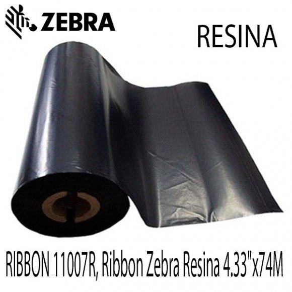"Zebra RIBBON 11007R, Ribbon Zebra Resina 4.33""x74M"