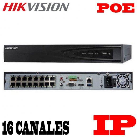 HikVision DS-7616NI-E2/16P, GRABADOR IP Gama Media DE 16 CANALES, 16 CANALES POE, H264+, 2HDD MAX 12TB, GRABACIÓN HASTA 6MP, DECO.6-CH@1080P, A.DE BANDA: EN.160MBPS/ SA.80MBPS, 1HDMI, VGA, 1RJ-45, ONVIF, VCA220