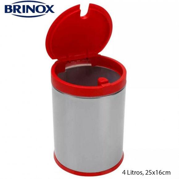 Brinox 3050/212, Basurero de Acero Inoxidable con tapa Roja de Propileno, 4 Litros, 25x16cm