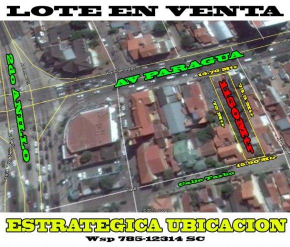 VENDO LOTE DE TERRENO: 1150 Mtr Sobre Avenida Av Paragua N.18, a 100 metros del 2do Anillo, lote de calle a calle 15.90m x 15.70m x 72m x 73.50m, Ideal para Construir un Condominio, Colegio,  Universidad