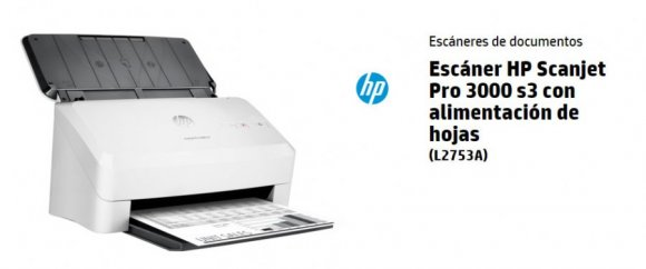 HP Scanjet Pro 3000 s3 L2753A#BGJ, ALIMENTADOR DE HOJAS ESTANDAR 50 HOJAS, CICLO DIARIO HASTA 3500 PAGINA, 600 PPP, USB, COMP. WIN/MA