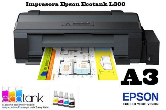 Epson EcoTank L1300(C11CD81303), Impresora a Color de Formato ancho Versátil para todos tus proyectos, 15 ISO ppm en negro y 5,5 ISO ppm a color, hasta 7100 páginas en negro o 5700 páginas a color,  Imprime tus proyectos, documentos, planos y gráficas en