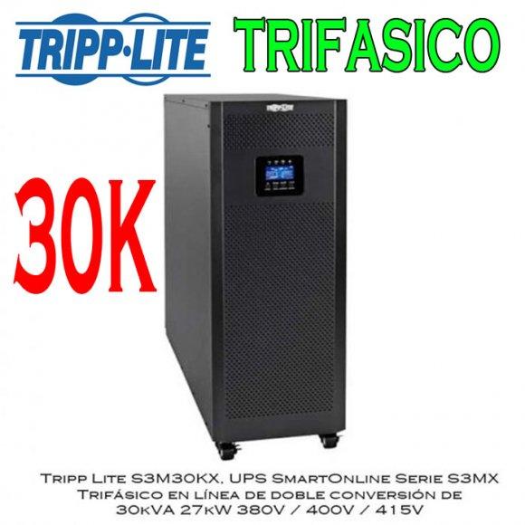 Tripp Lie S3M30KX, UPS SmartOnline Serie S3MX  Trifásico en línea de doble conversión de  30kVA 27kW 380V / 400V / 415V