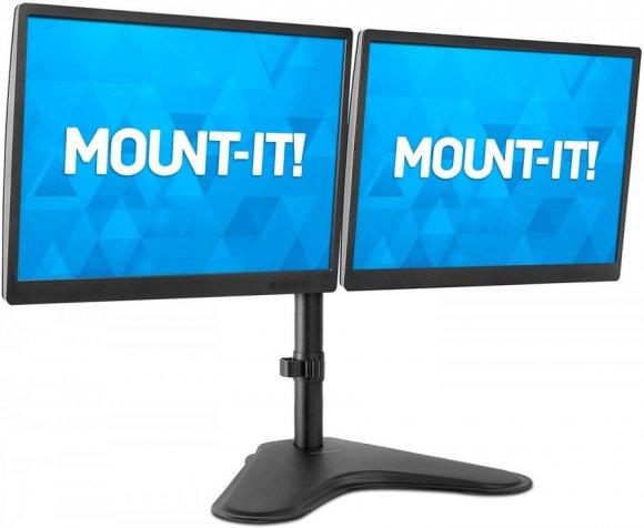 """Manhattan 461559, Soporte para dos monitor, colocación sobre el escritorio, movimiento con brazos de doble articulació Soporta dos monitores LCD de 13"""" a 32"""", hasta 8 kg, negro"""