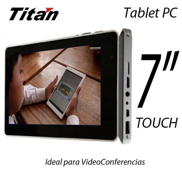 "Tittan 7010, Tablet Pantalla 7"", 800 X 480 Touch Screen, Camara Web, 16 GB Almacenamiento, Ram 512MB, Sistema Operativo Android 2.3, Wi-Fi 802.11b/g, Interface Mini USB, USB 2.0, Micro SD, DC in, auriculares, HDMI, Español"
