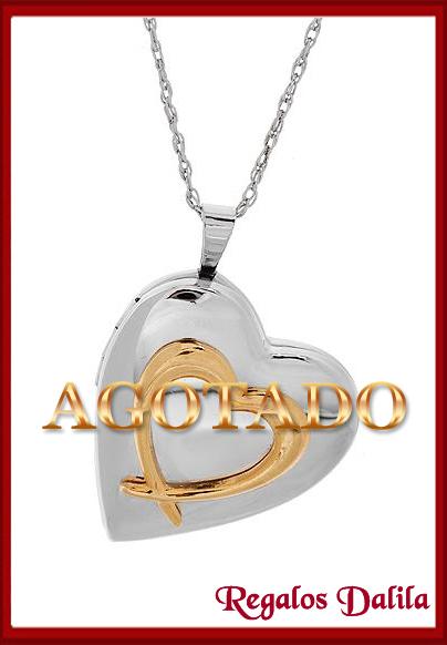 61c9892a37bb Relicario de Plata Y Oro Corazon