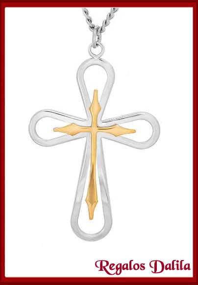 0ea2d107a355 Cruz de Plata Rodinada y Oro