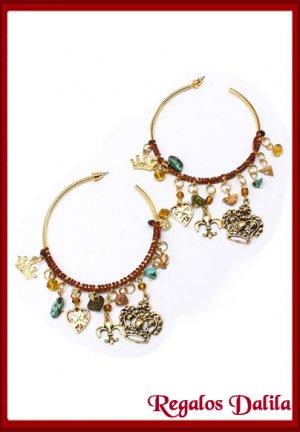 Aros Fashion Jewelry Argollas con Dijes