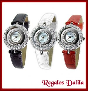 Reloj de Plata Rodinada con Cristales Flotantes