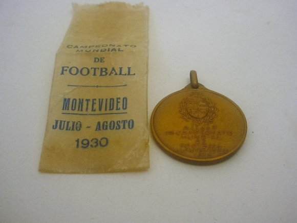 First World Cup Soccer 1930 Medal with Original Envelope