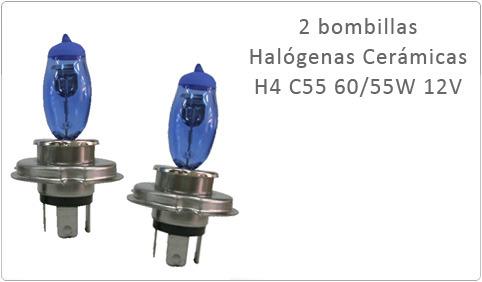 2 Bombillas Halógenas Cerámicas H4 C55 60/55W 12V Blancas 4500k